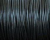 2mm Black Premium Leather Cord, Round, Lead Free - 2 yards 6 feet 1.8 meters - eRLC-202
