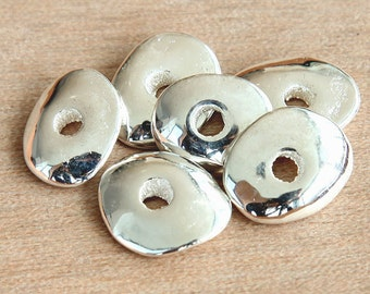 4 pcs Mykonos Ceramic Beads, Silver Plated, 18mm Cornflake Disk Spacer - eM13CS