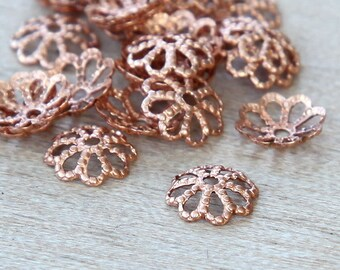 36 pcs Bead Caps, Solid Copper, 7mm for 6-8mm beads - eBCR011-GC