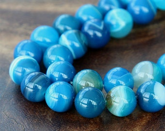Striped Agate Beads, Blue, 10mm Round - 15 inch strand - eGR-AG58210-10