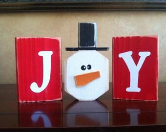 Wood Joy Christmas block set - wood Christmas sign - Seasonal Christmas home decor