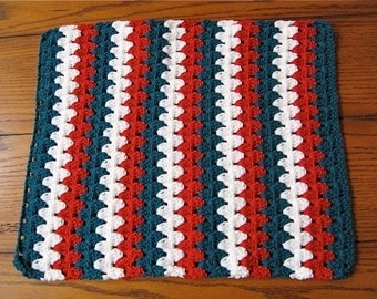 Doll or Pet Blanket Hand Crocheted - Teal, Red and White