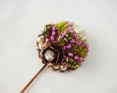 Lapel Pin with Seed Bead Tapestry Vintage Rhinestones and Beads in Olive Green and Fuchsia Scarf Pin or Stick Pin