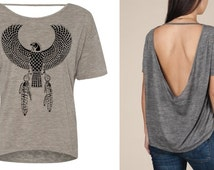 Womens Boho Egyptian EAGLE Native Tribal Screen Print Top  Alternative Apparel S M L XL more Colors