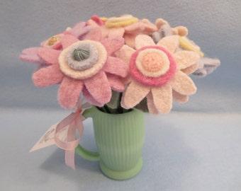 Felted Flowers in Jadite Glass Vase