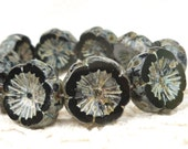 Pitch Black Pansy Flowers, 15mm Chunky Carved Flat Czech Glass Flower Beads (5) 0269/FLH