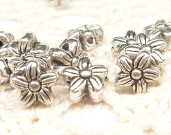 6mm Daisy Flower Spacer Beads, Antique Silver (20) - SF66