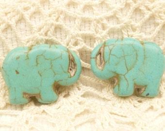 Turquoise Howlite Elephant Beads (4)