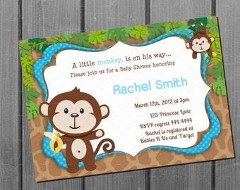 Monkey Blue Boy Baby Shower Invitation - FREE Thank You Card Printable - Boy Baby Shower Invite - Safari Jungle Animal - Monkey Shower