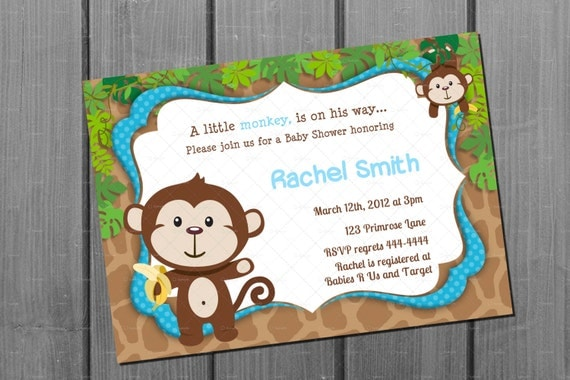 monkey blue boy baby shower invitation by cuddlebuginvitations, Baby shower