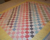 Vintage Baby Quilt Patchwork Patch Work Gingham Check Hand Quilted 50s-60s