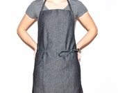 Full Apron in Black Denim with Adjustable Straps