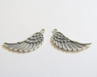 2 23x16.5x2mm 1 Left and 1 Right Antiqued Sterling Silver Bali Angel Wing Drop, Dangle, Charm, Pendant