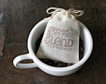 Coffee wedding favor bags, muslin, 2x4. Set of 25. Hand stamped. The Perfect Blend with coffee bean design in brown.