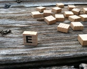 19 wooden mini tiles, alphabet letters, jewelry supply, arts and crafts, junk art, arts and crafts, black letters,  beading supply