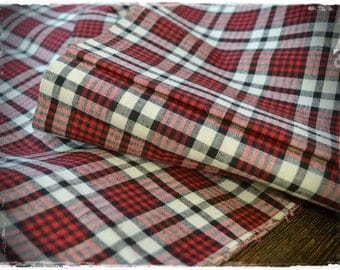 french kelsch halflinen, red-white-black, antique, pattern woven, check gingham fabric