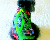 Fleece Small Dog's Clothing Made to Order Pet Clothes Dog Coat - Forest Green, Red, Black, Yellow & White NASCAR Theme