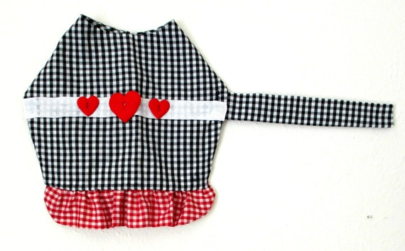 Gingham Small Dog's Dress Made to Order - Black & White Pet Clothing with Red and White Ruffle, Ribbon and Heart Trim