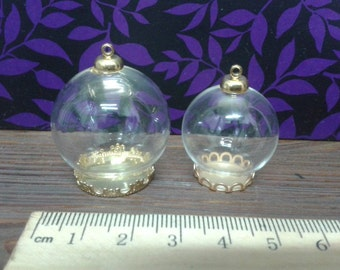 Golden Glass Miniature Charm Domes
