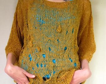 Mustard Colour Handknitted Sweater  Very light Irregular Wool Yarn