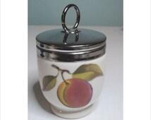 Exquisite  Porcelain Egg Coddler Signed Royal Worcester  Made in England Fruit Design Chrome Lid