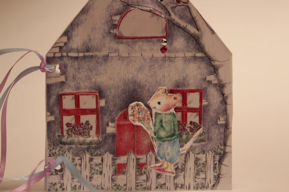 Little Mouse Birthday House  Handcrafted Paper house, Country mouse birthday card, two mice and a house!