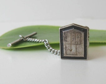 Sterling Silver Vintage Mens Tie Tack, Etched Lapel, Father's Day, Men's Accessory, gift idea
