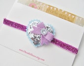 Baby/Girls Valentine's Day Glitter Heart Headband- Felt Heart Headband, Purple and Silver Glitter Heart Headband by Charlie Coco's