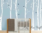 SEVEN Birch Decal with Sparrow birds, Birch Decal, Birch with birds, Birch forest, Nursery Birch Trees Wall Vinyl