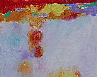 "SALE! Original abstract landscape acrylic painting ""Pray"", 16"" x 20"" on canvas. Shorthand  Message Prayer & Hope.  Home decor art"