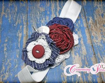 Navy, blue, white, Maroon Headband, Hair Accessories, Girls headband, Fabric Flower headband, Infant Headband, Hair Clip, burgundy,  hairbow