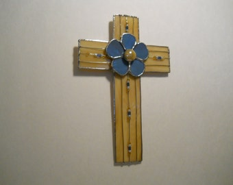 Cross Stained Glass Beige and Blue Wall Hanging