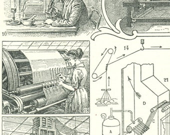1922 Vintage silk making print silk spinning poster silk weaving mulberry silkworm gift for silk maker vintage French dictionary page