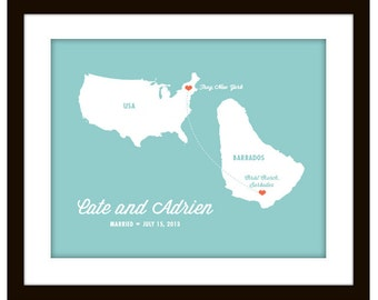 Custom Love Map - Any Continents With Hearts - Personalized with any color Wall Art Print