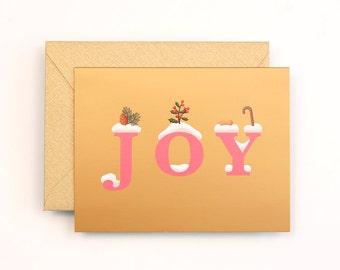 JOY Christmas Card for Holidays - Gold