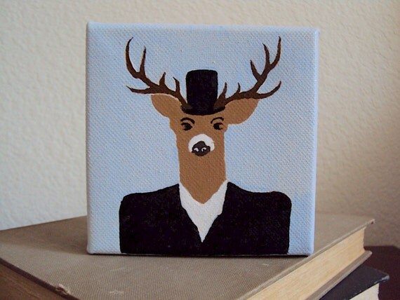 Quirky Wall Decoration : Original painting of deer man quirky wall art whimsical