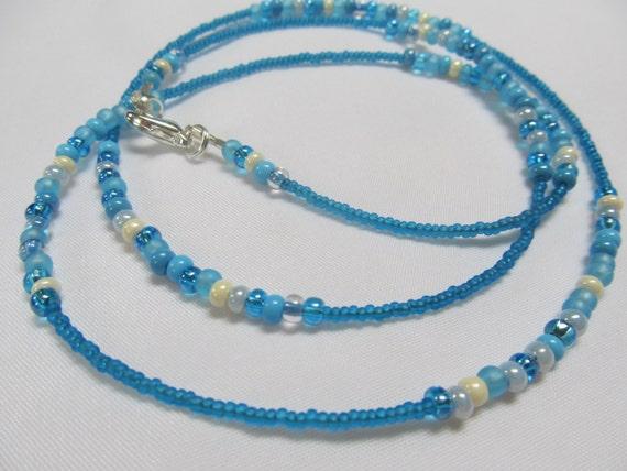 Labadee - Aqua Blue Waistbeads, Single Strand, Sterling Silver Clasp