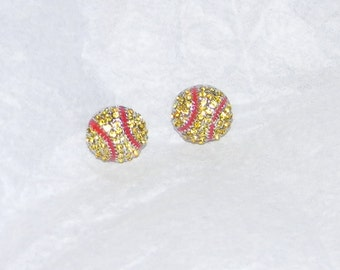 Softball  Earrings- Sparkle yellow crystals with red seam - 1cm