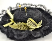 Crochet Pincushion - Southern Belle Lacy Hat in Black with Yellow Ribbons and Feathers - Sewing supplies and gifts for quilters / seamstress