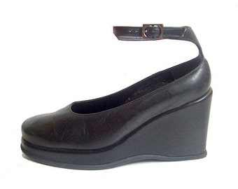 90s ROBERT CLERGERIE  wedge   ankle strap black soft leather us5 fr36 uk4