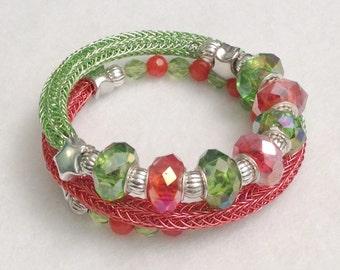Ladies wrap bracelet, stacked look, green and orange viking knit