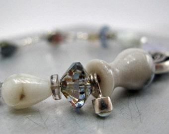 Iris Bracelet - milky ocean quartz - pale indigo - silver iris - moonstone accent