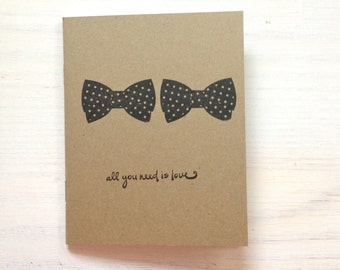 Notebook: Bow Tie, Gay Wedding, Gift, Medium Notebook, Love, Wedding Favor, Journal, Blank, Unique, Gift, For Her, For Him, M4-KR43/320x2