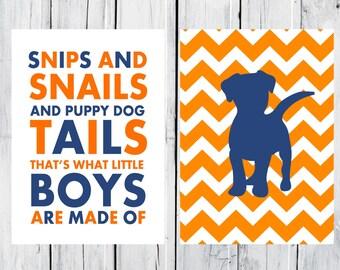 Puppy Dog Nursery  - 2 Print Set - Boy's Nursery Decor - Custom Colors