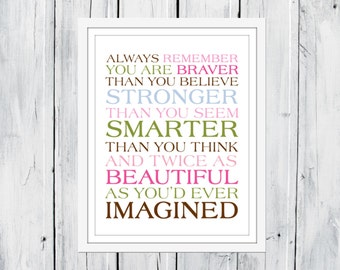 Always remember...You Are Braver Print 8x10