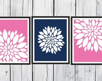 Floral Print Set - Bathroom Decor -  3 Print Set Custom Colors and Size -  Blooms