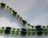 Green magnetic hematite, crystal and silver bracelet or necklace