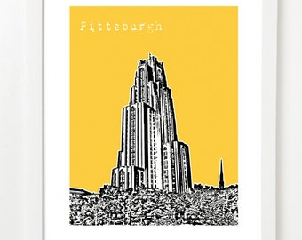 Pittsburgh Cathedral of Learning Art Print - Pittsburgh, PA City Poster  - VERSION 3