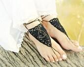 Black crochet barefoot sandal, Crochet Victorian lace Barefoot jewelry