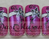 Black and White Floral on Pink Instant Acrylic Nail Set